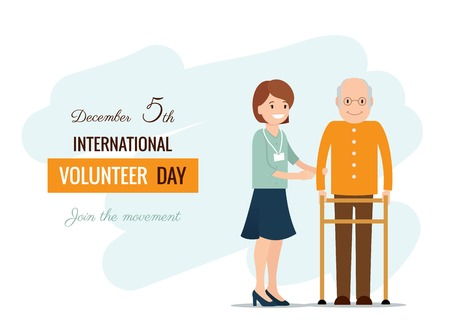 voluntary: 5 December. International volunteer day background. Young volunteer woman helping caring for elderly man.  Vector flat  illustration