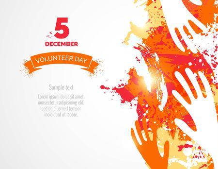 5 December. International volunteer day background. Hands and watercolor splashes design. Vector illustration Illustration