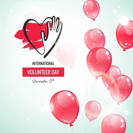 voluntary: 5 December. International volunteer day background. Celebration background with flying balloons and volunteer logo. Vector illustration