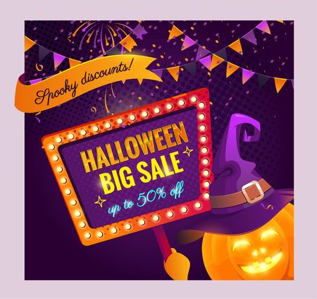 Halloween big sale offer design template. Halloween background with holiday symbols,flags garlands, pumpkin and serpentine. Vector illustration.