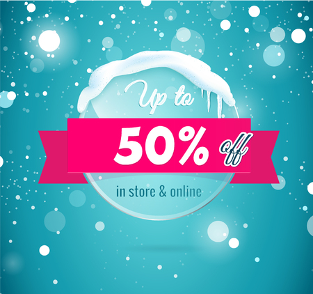 50 Percent Off Discount promotion advertising banner. Bright winter transparent  glass  banner with snow and icicles isolated on blue sparkling background.