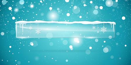 icicles: Transparent vector glass  banner with snow and icicles isolated on blue sparkling background. Vector illustration. Eps 10 file