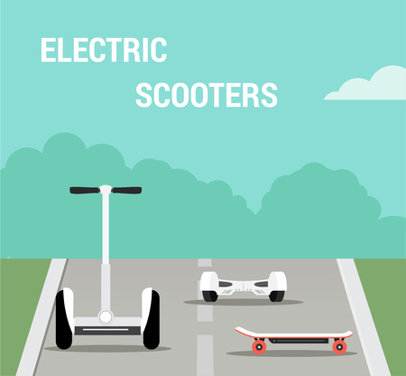 Set of self-balancing electric scooters. Vector illustration, flat style Illustration