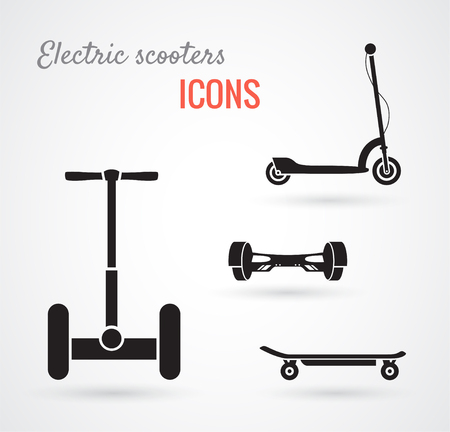 Set of self-balancing electric scooters icons isolated on white. Vector illustration, flat style