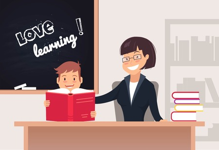Elementary Pupil Reading a Book With Female Teacher In Classroom. Love reading concept. Vector illustration