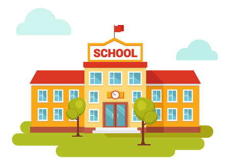 Vector illustration of school building. Front yard. Welcome back to school.Buildings for city construction. Flat style.