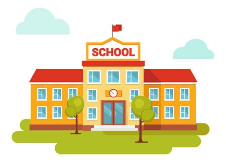 Ilustración del vector de la construcción de escuelas. Patio delantero. Bienvenido a la escuela. Edificios para la construcción de la ciudad. Estilo plano