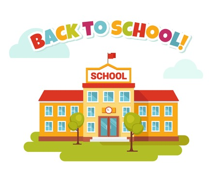 Vector illustration of school building. Front yard. Welcome back to school.Back to school colorful letters.  Flat style. Illustration