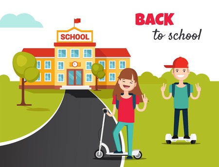front or back yard: School building and front yard with students children. School background with back to school concept in flat style. Vector illustration