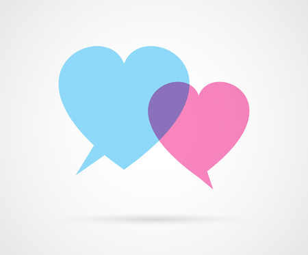 Heart shaped love speech bubbles. Male and female concept. Dialog. Vector illustration