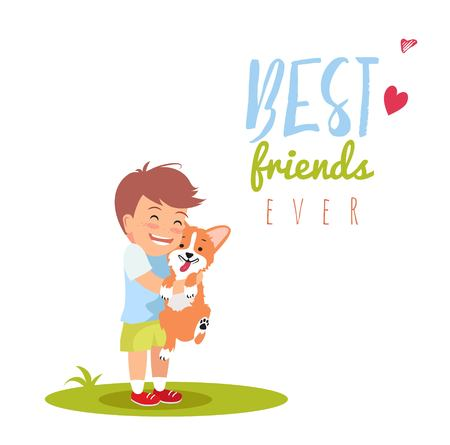 Cute little boy is hugging dog. Best friends ever vector illustration. Friendship day concept.
