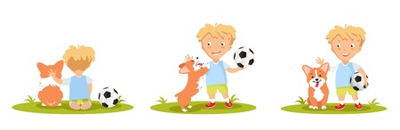 to spend the summer: Set of cute little boy playing with his dog. Vector illustration.