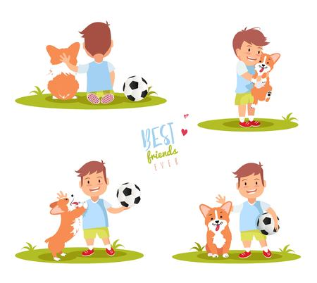 to spend the summer: Set of cute little boy playing with his dog. Best friends ever vector illustration.