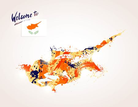 Welcome to Cyprus. Colorful cypriot map with  flag and paintink splashes. Welcome to inscription. Watercolor drawing. Vector illustration Illustration