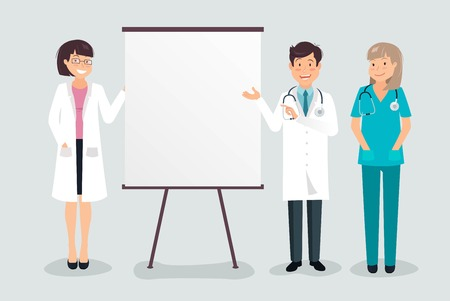 Young cheerful doctors giving presentation to team colleagues. Vector Illustration