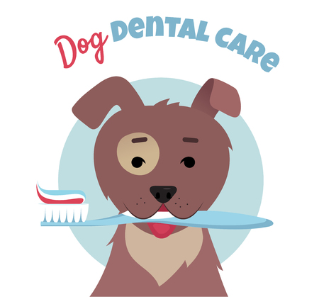 Dog holding electric toothbrush with mouth.