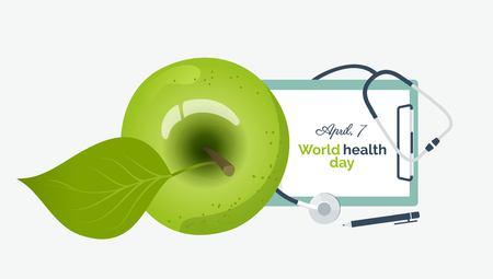 World health day banner concept. Illustration