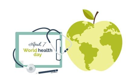 flat earth: World health day banner concept. Illustration