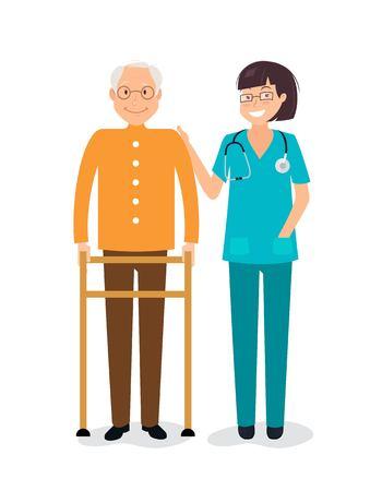 Young female nurse helping senior man to use walking frame.