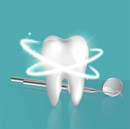 Clean and glossy 3d realistic tooth and dentistry instruments. Illustration