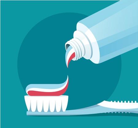 Brushing teeth. illustration.