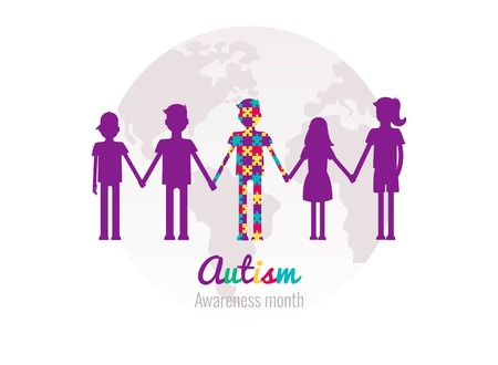 Autism awareness month colorful background with puzzles, kids and planet. Blue, yellow and violet puzzles pieces. Vector illustration