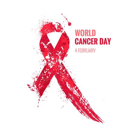 Cancer day awareness ribbon. Watercolor red ribbon, cancer awareness symbol, isolated on white. Vector illustration