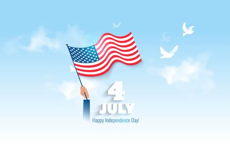 4 July USA Independence Day flyer, banner or poster. Holiday background with waving flag in man`s hand on sky background. Vector flat illustration