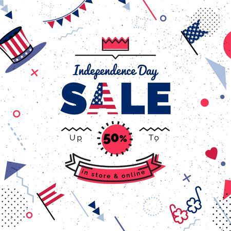 미국 독립 기념일 판매 벡터 일러스트 레이 션. 기하학적 인 도형으로 판매 포스터입니다. 레트로 80, 90 년대 멤피스 스타일에서 벡터 배경.