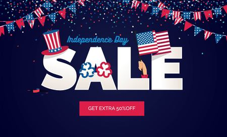 USA Independence day Sale vector illustration. Sale poster with confetti, bunting flags, text and hat. Illustration