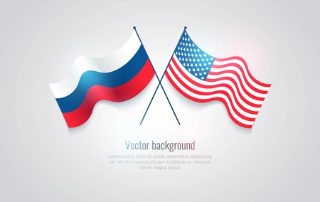 Flags of the USA and Russia isolated on white background. Vector illustration