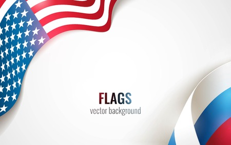 cold war: Flags of the USA and Russia isolated on white background. Vector illustration