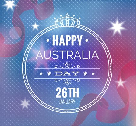 oceania: Congratulation Happy Australia Day on blurred background. Vector illustration for prints or cards for the holiday. Illustration