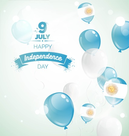 9 July, Argentina Independence Day greeting card. Celebration background with flying balloons and text. Vector illustration Illustration