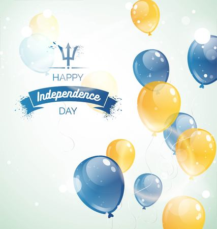 30 november.Barbados Independence Day greeting card. Celebration background with flying balloons and text. Vector illustration