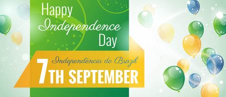 ray of light: 7 September.Brazil Independence Day greeting card. Celebration background with flying balloons and text. Vector illustration