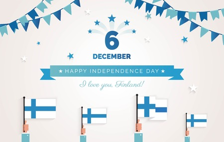 December 6th, Finland, Finnish Independence Day greeting card.   Holiday background with waving flags, ribbon and garlands. Vector flat illustration