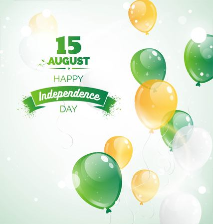 15 August.India Independence Day greeting card. Celebration background with flying balloons and blue sky. Vector illustration