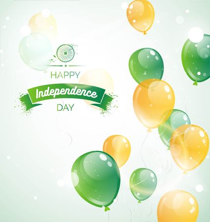 15 August.India Independence Day greeting card. Celebration background  with flying balloons and text. Vector illustration Çizim