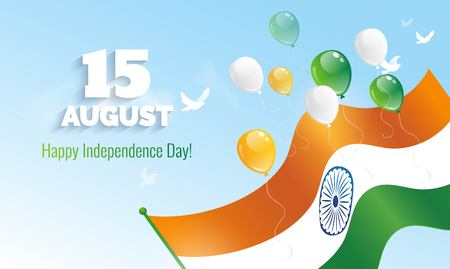 15 August. Indian Independence Day greeting card. Celebration background with flying balloons and waving flag. Vector illustration