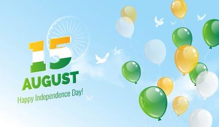 15 augustus. Indian Independence Day wenskaart. Vieringsachtergrond met vogels, blauwe hemel, ashokawiel en vliegende ballons. Vector illustratie