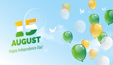 15 August. Indian Independence Day greeting card. Celebration background with birds, blue sky, ashoka wheel and flying balloons. Vector illustration Illustration