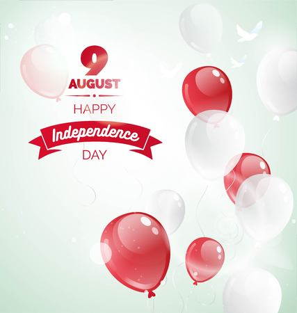 9 August. Singapore Independence Day greeting card. Celebration background  with flying balloons and text. Vector illustration Ilustração