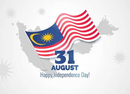 31 August. Malaysia Independence Day greeting card. Celebration background with map silhouette and waving flag. Vector illustration