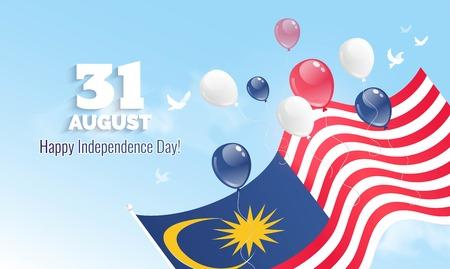31 augustus. Maleisië Independence Day wenskaart. Vieringsachtergrond met vliegende ballons en golvende vlag. Vector illustratie Stock Illustratie