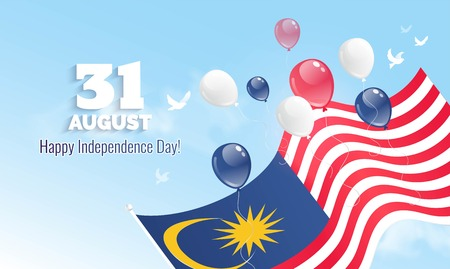 31 August. Malaysia Independence Day greeting card. Celebration background with flying balloons and waving flag. Vector illustration Vectores