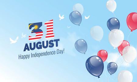 31 août. Carte de voeux pour le jour de l'indépendance de la Malaisie. Fond de célébration avec des ballons volants et ciel bleu. Illustration vectorielle