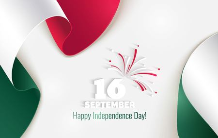 16 September. Mexico Happy Independence Day greeting card. Waving mexican flags isolated on white background. Patriotic Symbolic background  Vector illustration