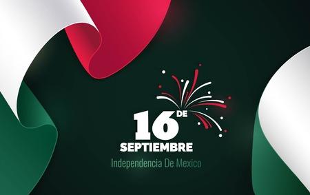 16 septembre. Mexique Carte de voeux Happy Independence Day. Agitant des drapeaux mexicains isolés sur fond vert. Fond symbolique patriotique Illustration vectorielle Banque d'images - 85828875