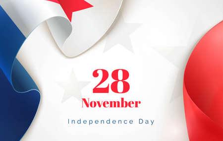 28 de noviembre. Fondo de la Independencia de Panamá en el tema de color de la bandera nacional. Bandera de la celebración con curvas de cintas y texto. Ilustración del vector